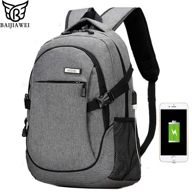 BAIJIAWEI 2017 New Design USB Charging Backpack Men 15 inch Laptop Bags Double Shoulder Bag School Casual Backpacks Travel Bags 14 15 15 6 inch flax linen laptop notebook backpack bags case school backpack for travel shopping climbing men women