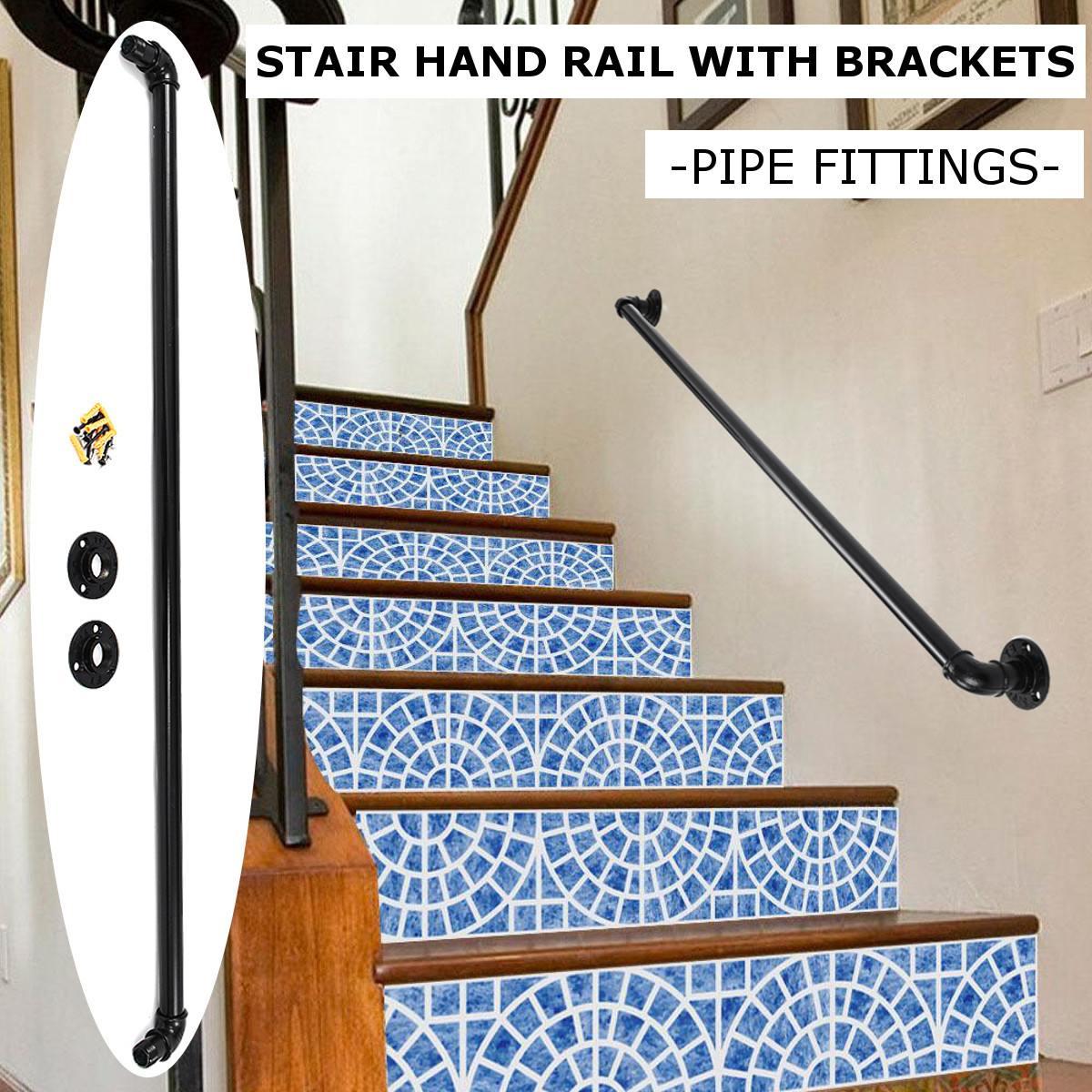 1M Industrial Retro Bookshelf Black Wall Ceiling Mounted Open Bookshelf Parts Bracket Iron Pipe Shelf Stair Bathroom Handrail
