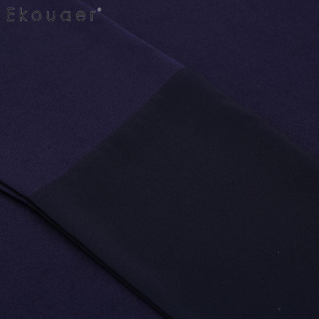 Ekouaer Sleep Casual Deep V Neck Long Sleeve Chiffon Patchwork Lace Up Women Robe