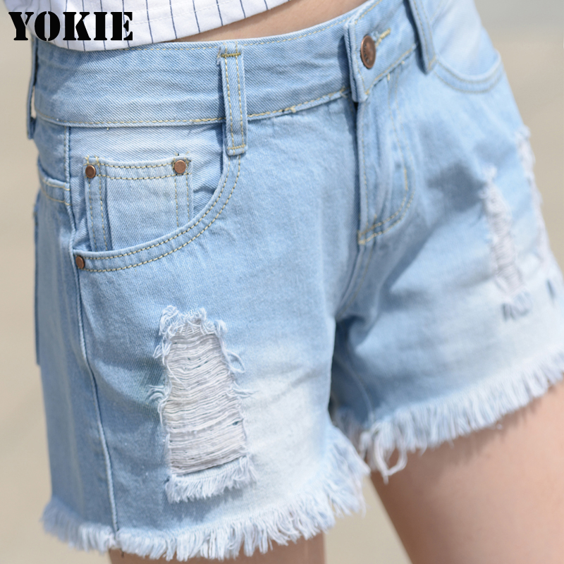 2016 New Fashion Ripped Women's Jeans Summer Mid Waist Denim Shorts Casual women Jeans Shorts Hole Shorts Hot Plus Size 26-32 chicd 2017 new women basic shorts summer fashion slim mid waist white letter printing pockets denim jeans shorts mujer xp377