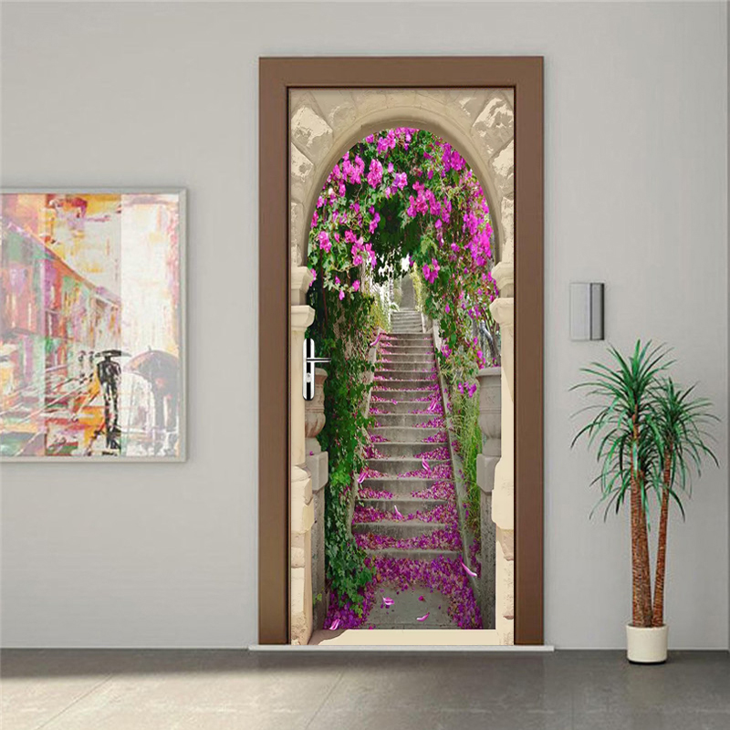 Custom Photo Wallpaper 3D Stereo Cherry Blossom Stairs ...
