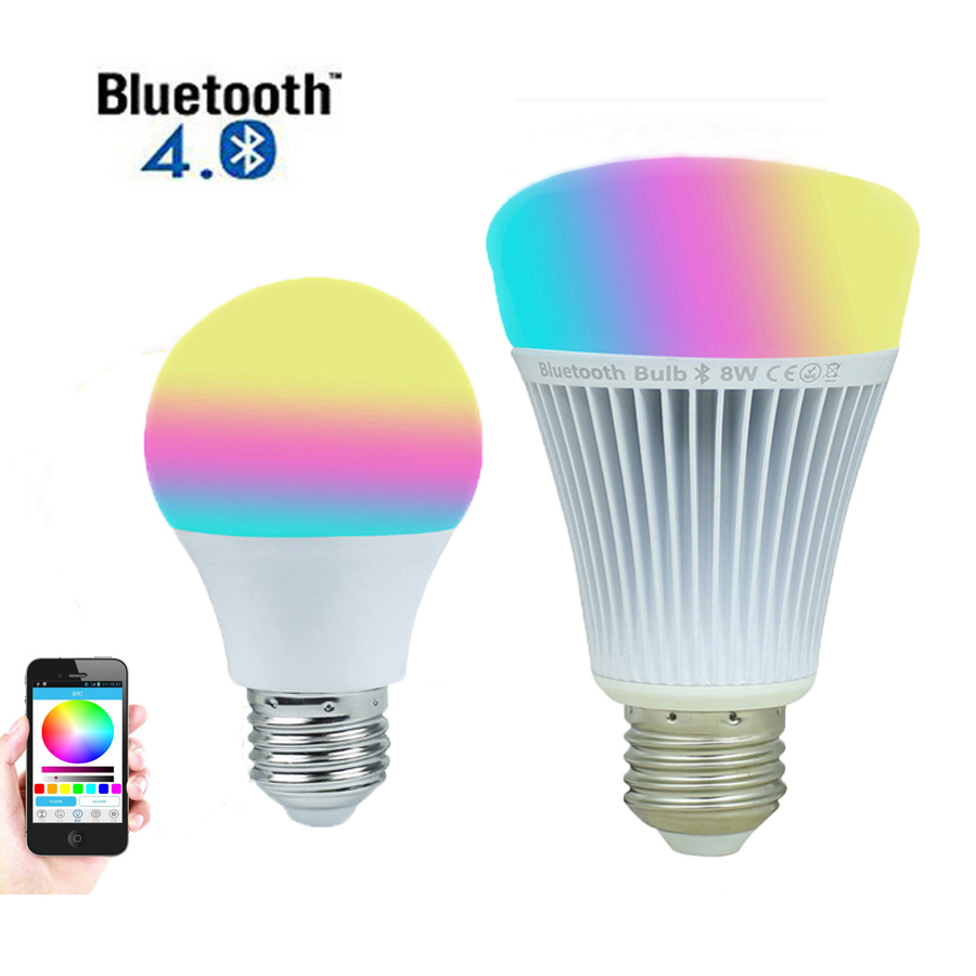 Bluetooth 4.5W 8W LED Bulbs E27 4.0 Smartphone Control 16 Million Color Dimmable AC110V 220V Work For IOS Android