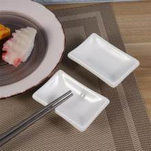 2 pçs 3 Polegada puro branco cerâmica aperitivo servindo bandeja retangular molho prato japonês-estilo snack pratos para tempero molho de soja
