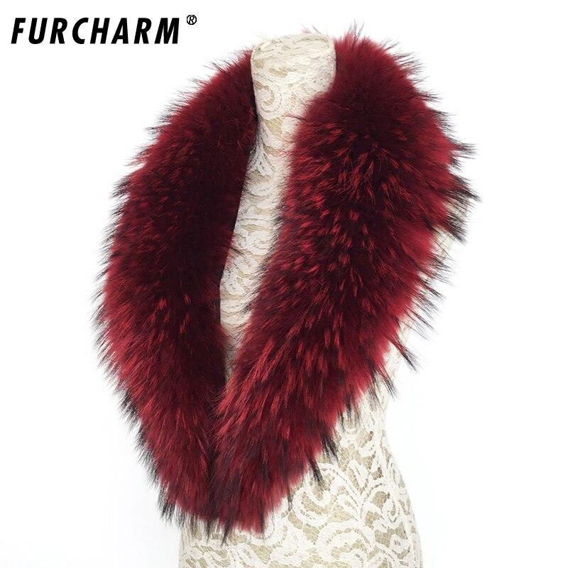FURCHARM Luxury Real Raccoon Fur Scarf Women 100% Natural Raccoon Fur Collar Winter Warm Fur Collar Scarves