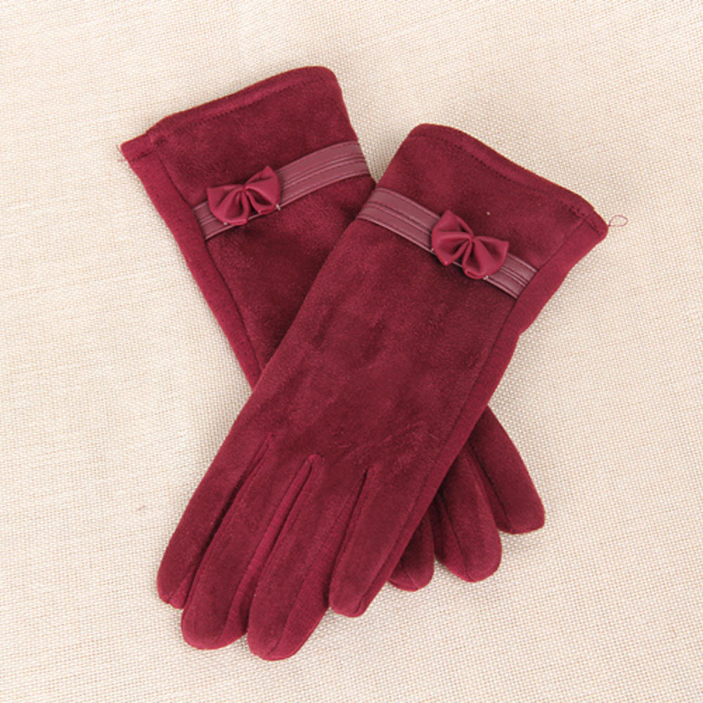 New Fashion Female Gloves Winter Gloves Touch Screen Suede Elegant Warm Soft Wrist Bow Mittens For Women Guantes Mujer Invierno