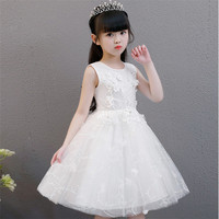 2018Pure White Color Simple Flowers Lace Princess Pageant Communion Dress Little Girls Kids/Children Dress for Birthday Wedding