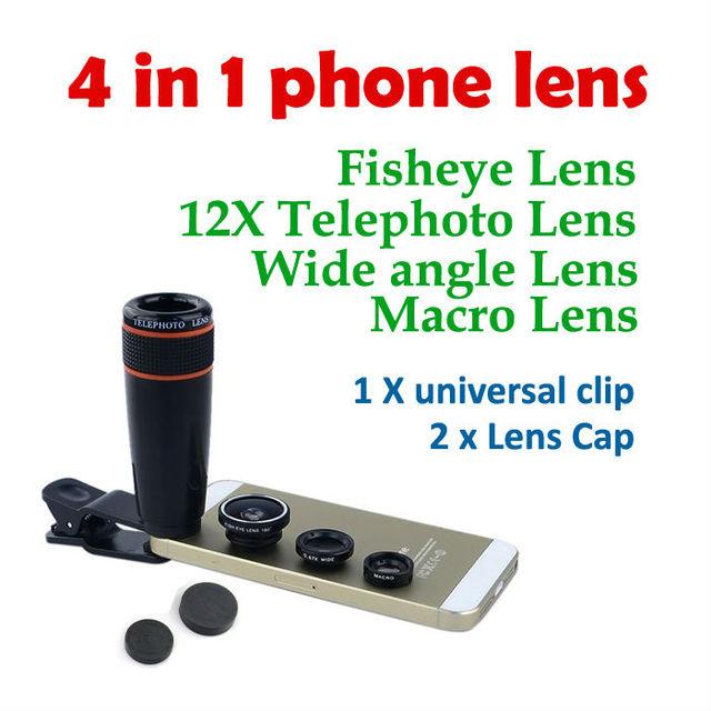 4in1 Hot 12X Zoom Telescópico Óptico Lente Macro Lente gran angular lente ojo de pez con clip para samsung tableta de la cámara todos los smartphone