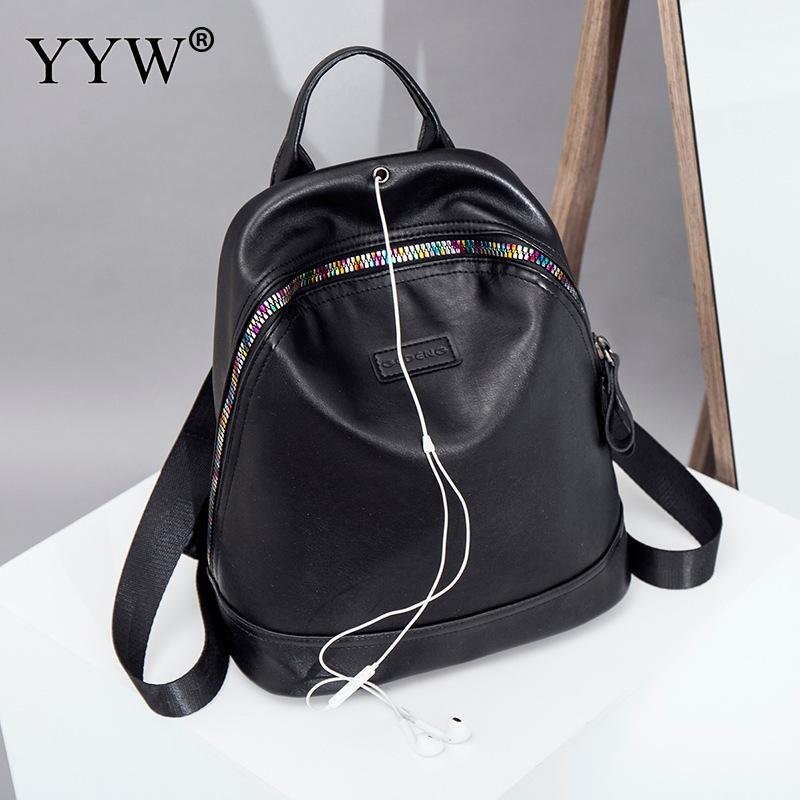 Black PU Leather Backpack Female Laptop Backpacks for Women and Adolescent Girls New Travel School Bag with Headphone cable hole lemon kitten japanese canvas solid school bag backpack for women young girl backpacks adolescent female