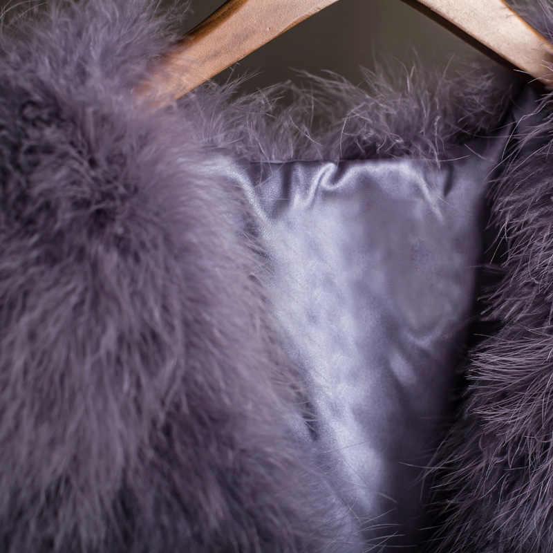 100% Gerçek Kürk Gilets el-örme Doğal Devekuşu Tüyü Kürk Yelekler Kaliteli Hakiki Kabarık Kürk Ateş Yelek Kömür Gri