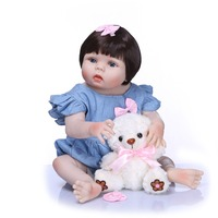 55cm full Silicone Reborn Realista Fashion Baby Doll For girl Children Birthday Gift Bebely Reborn accessorie for baby born Doll