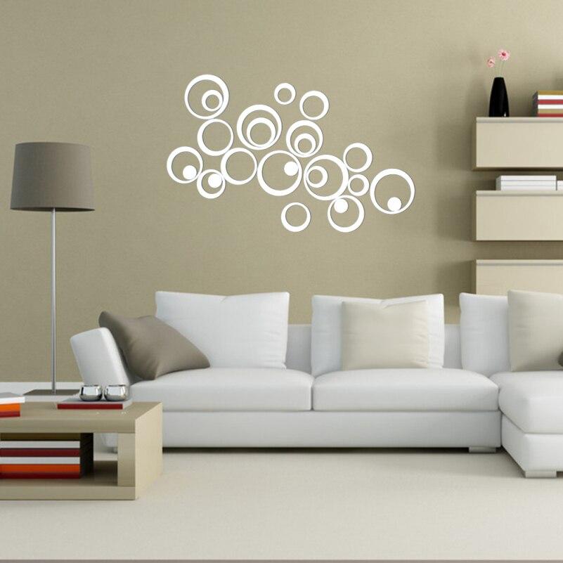 Adesivo specchio 25 pz 3D Acrilico Rotondo Wall Stickers Home Decor ...