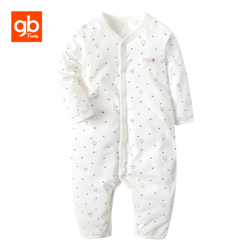 GB Brand Long Sleeve Cotton Baby Rompers Dot Printing V-neck Single Breasted  Infant Jumpsuit Comfort Baby Homewear Pajamas baby rompers o neck 100