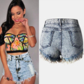 2017 Summer HOT New Sexy Slim Skinny Ripped Hole Burrs Cut Off Washed High Waist Cotton Women Denim Mini Hot Beach Shorts Jeans