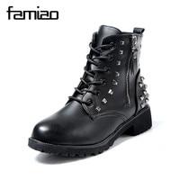 FAMIAO Women Martin Boots Winter Warm Shoes Botas Feminina Female Motorcycle Ankle Fashion Boots Women Rivet