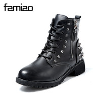 FAMIAO Women Martin Boots Winter Warm Shoes Botas Feminina Female Motorcycle Ankle Fashion Boots Women Rivet