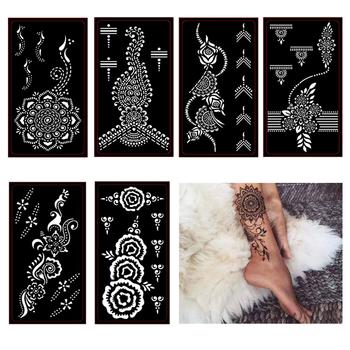 6 sztuk zestaw tatuaż z henny wzornik Mehndi Aribrush szablony dla kobiet malowania ciała indyjskie naklejki z tatuażami nowe wzory zestaw 6 wzorów tanie i dobre opinie Farba ciała henna tattoo stencil 6pcs Plastic PVC sticker xmasir 18 5* 9 5 cm 6pcs different Design mehndi henna tattoo stencil