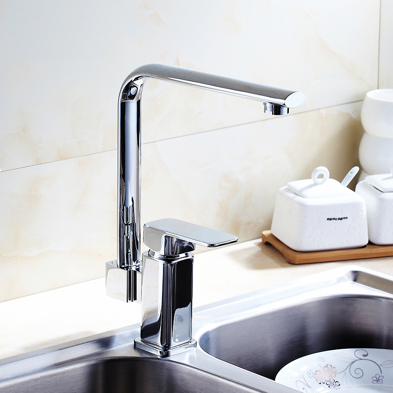 Kitchen sink dish basin faucet hot and cold Copper basin faucet chrome plated Rotated single hole