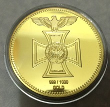 DHL free shipping 50pcs/lot, 1872 Reichsbank 24k gold plated 1oz german coin, 999/1000 Commander Erwin Rommel War Coin, Hot sale