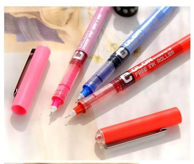 1pc 0.5 Needle type straight liquid type ball pen color pen water Gel Pens 2