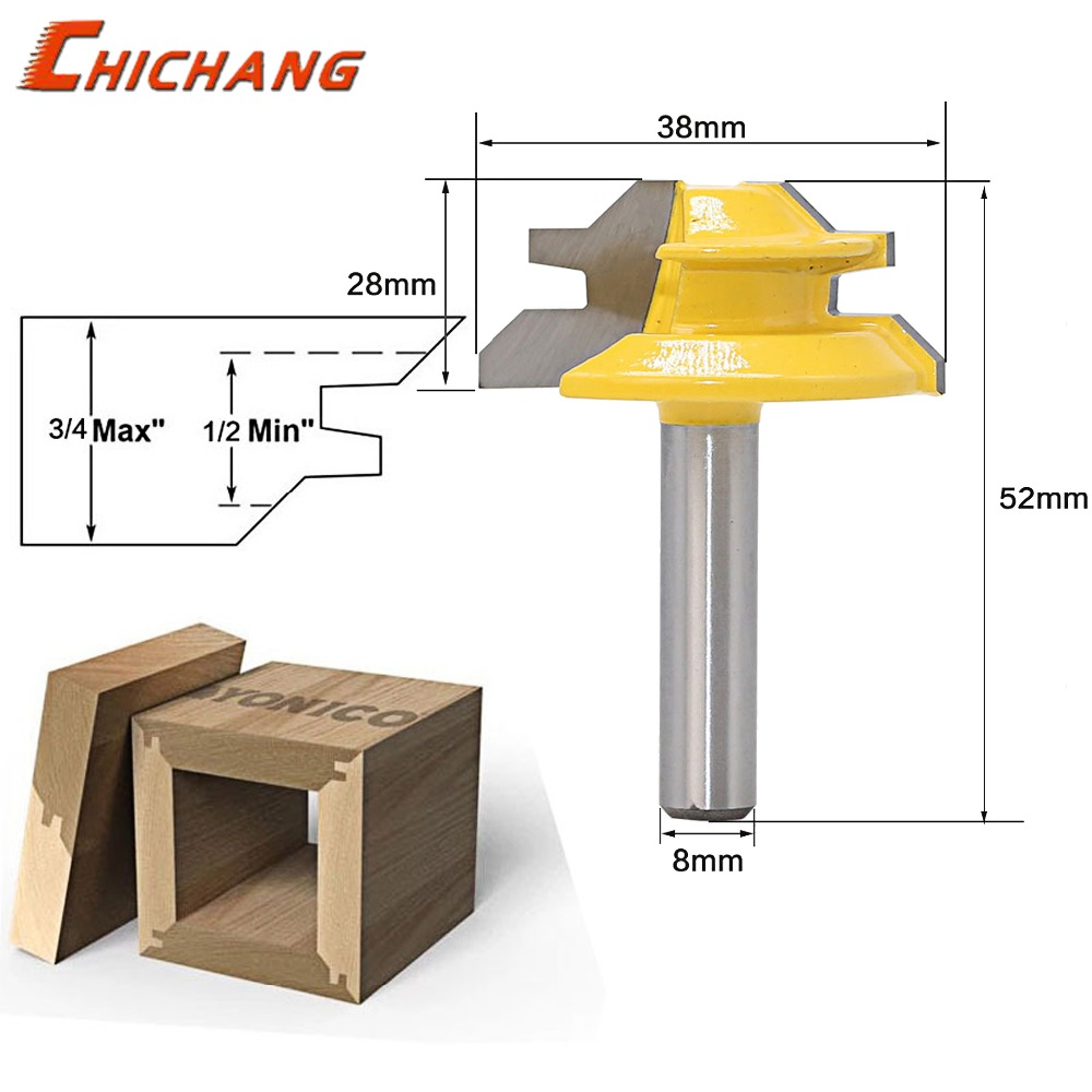 1pc 8mm Shank Router Bits For Wood 45 And 90 Degree Corner Splicing Combination CNC Cutter Woodworking Tool