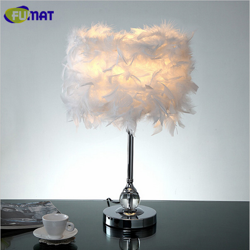 FUMAT Feather Table Lamps Modern Crystal Table Lamp for Living Room Bedroom Beside Light Fashion Study Feather Desk Lamp