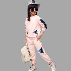 Teenager Mädchen Kleidung Kinder Kleidung Set Baumwolle Sweatshirt + Hosen Zwei-Stück Casual Pailletten Kinder Mädchen Kleidung Anzug 6 8 10 12