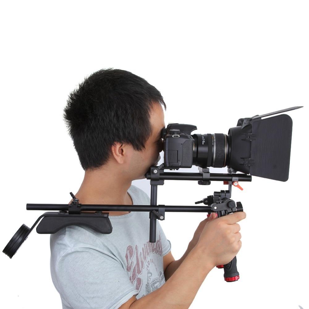 2016 New Koolertron Hand Grip Handle+Shoulder Mount Rig+Follow Focus+Adjust Platform +Matte Box Sunshade For DSLR Cannon Nikon new professional dslr rig shoulder mount