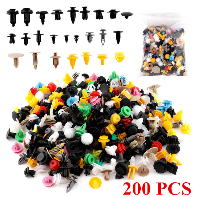 200 PCS Universal Mixed Fasteners Door Trim Panel Auto Bumper Rivet Car Clips Retainer Push Engine Cover Fender Fastener Clips