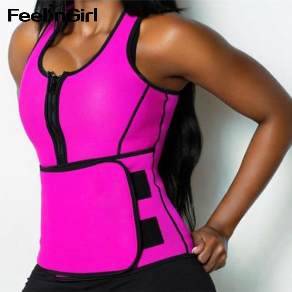 5e8836be3b183 FeelinGirl Neoprene Sauna Top Vest with Adjustable Waist Trimmer Belt Fajas  Body Shaper Weight Loss Summer Workout Shaperwear
