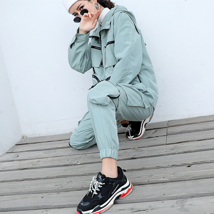 Women Men 2 Piece Set Female Multi pocket Function Removable Sleeve Streetwear Hip Hop Loose Casual Cargo Jacket Haren Pants in Women 39 s Sets from Women 39 s Clothing
