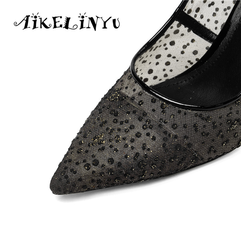 AIKELINYU 2019 Fashion Elegant Classics Pump Air Mesh Water Drill Pointed Toe Slip on Lady Pump Solid Wedding Party Career Shoe in Women 39 s Pumps from Shoes