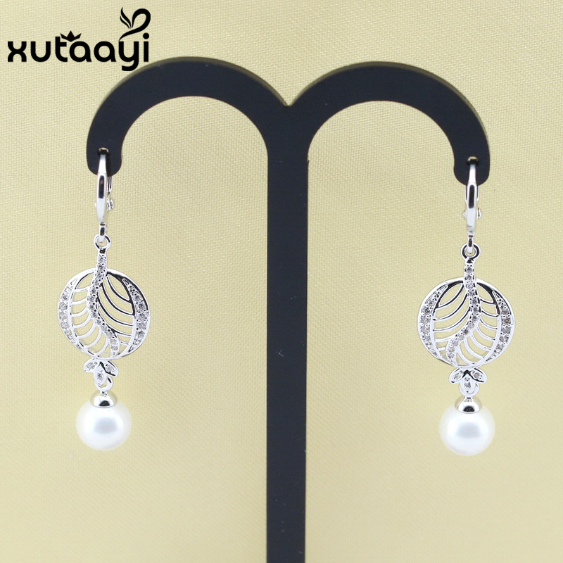 66a05a135 Natural freshwater Round drop pearl earrings 925 silver hoops fashion  jewelry for Women white gold color Leaves ear loops