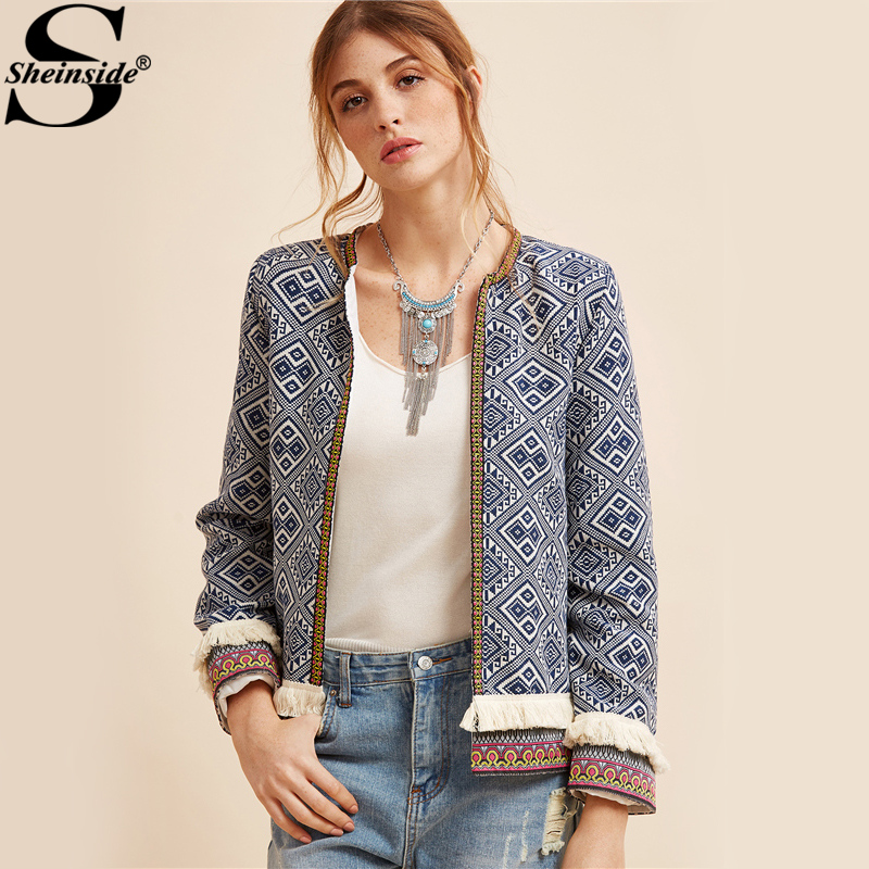 Sheinside Tribal Embroidered Jacket Blue Vintage Fringe Tape Trim Women Autumn Coat Spring Long Sleeve Elegant Boho Jacket