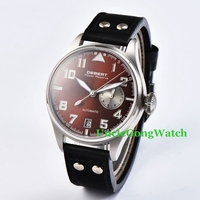 42mm DEBERT Mens Relojes Automáticos Negro Remaches Correa de Cuero Relojes SS Caso Café Dial Reloj Luminoso DT7015BSC
