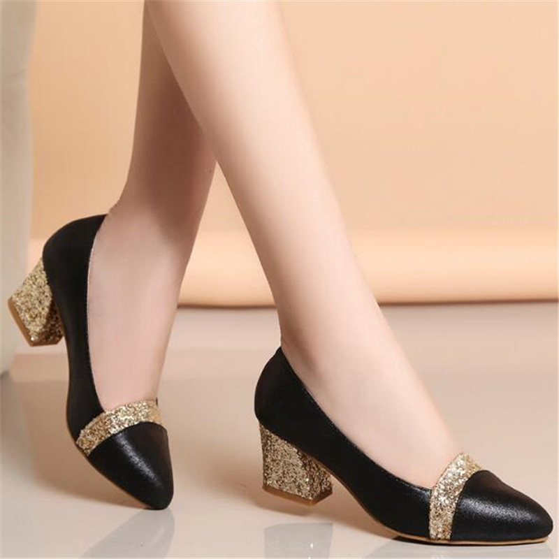 Soft leather with women's shoes autumn new shallow mouth ladies pointed thick with single shoes female high heels mother