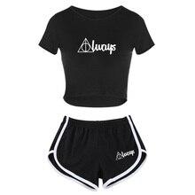 Лучший!  Новая мода Женская летняя одежда Letter Print Футболка + шорты Повседневные топы и спортивные шорты