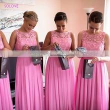 Sleeveless Elegant A Line Bridesmaid Dress Wedding Gowns Chiffon Appliques Bridesmaid Dress vestido de dama de honor (SL-B42)