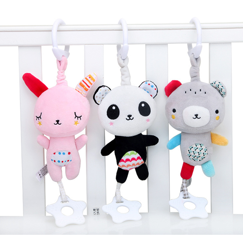 Baby Animals Musical Rattles Mobile Plush Doll Toys Newborn Infant Stroller Lathe Crib Bed Hanging Cute Appease Toy Bebe  0-12
