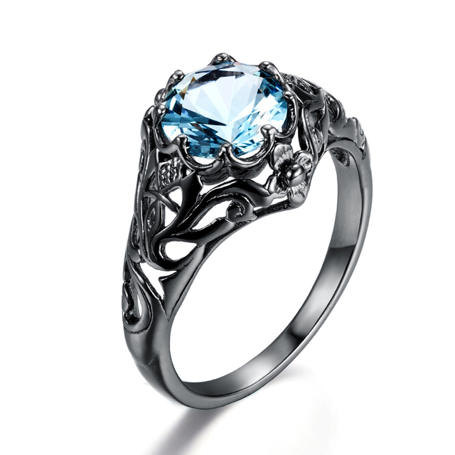 New Crystal Ocean Blue Stone Ethnic Rings Created Aquamarine Black Gold Color Women Engagement Party Ring