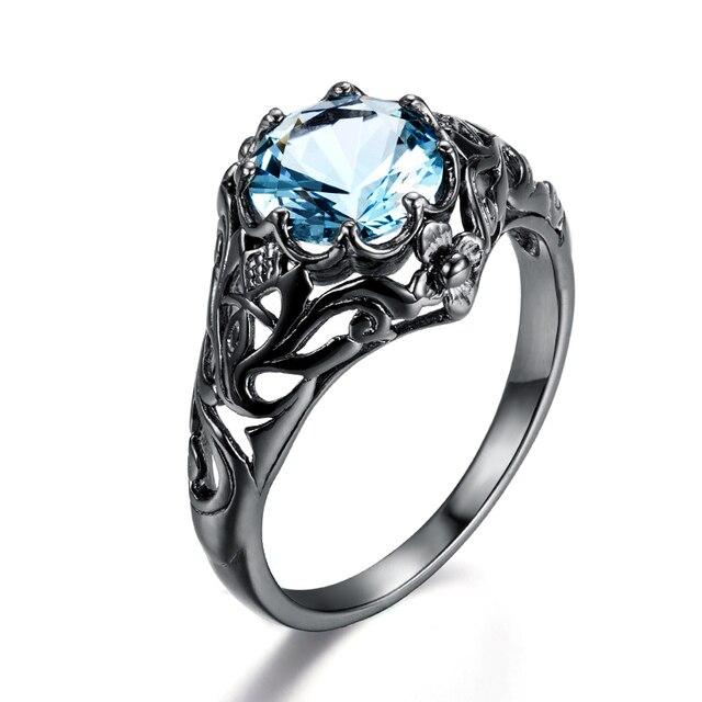 New Crystal Ocean Blue Stone Ethnic Rings Created Aquamarine Black