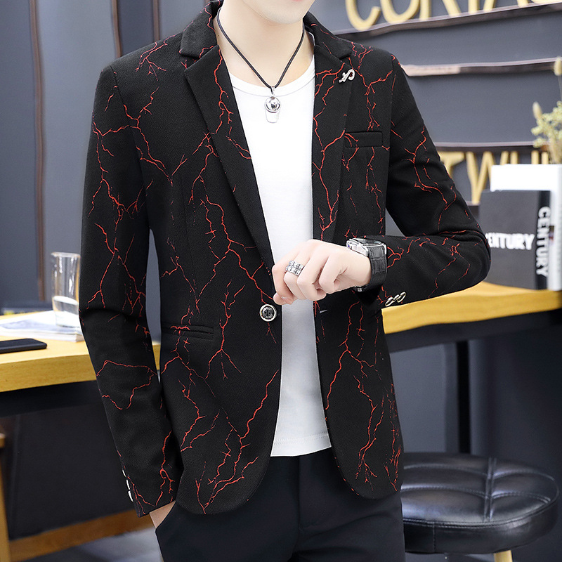 The Spring Of 2020 The New Printing Leisure Blazer Men's Fashion Handsome Blazer Of Cultivate One's Morality