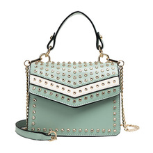 Fashion Pu Leather Handbag Women  Retro Rivet Small Flap Bag Korean Bags Women Chain Shoulder Bags For Women 2019 Handbag Bolsa rivet detail flap handbag