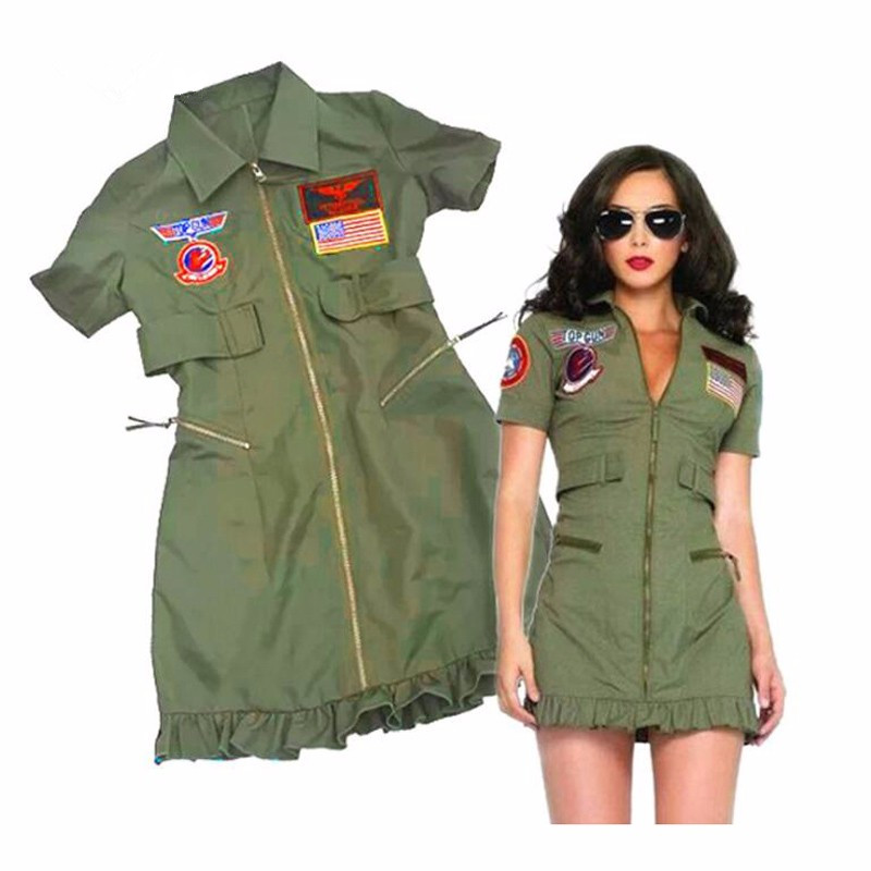 Female Police Uniform Adult Womens Sexy Top Gun Dress Army Green Costumes Halloween Party Police Costumes 目