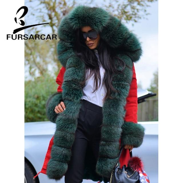 056ed1546c24 FURSARCAR Military Style Real Fur Coat Women With Fox Fur Trim Hood And  Cuff Luxury Winter Thick Warm Fur Parka For Female