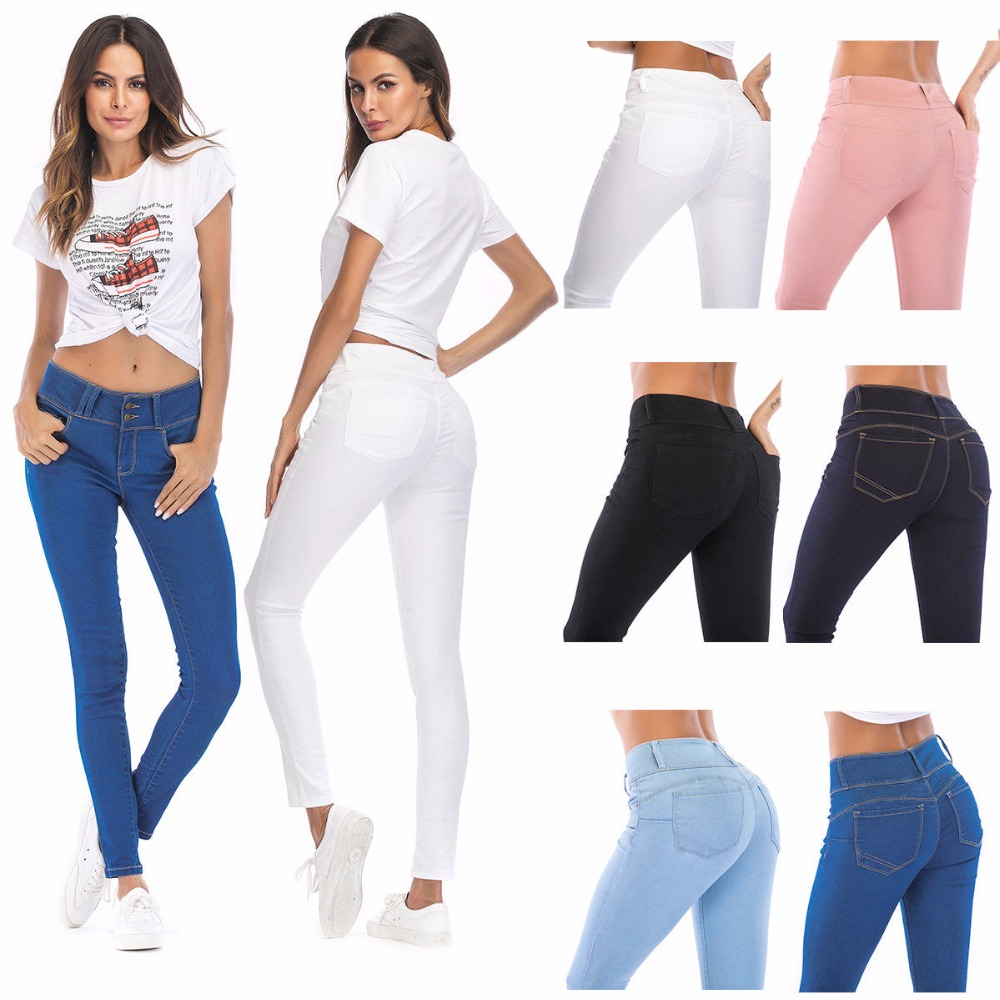 WEAVERS Womens Skinny Ripped Jeans Mid High Waist Elastic Tight Pencil Pants Stretch Skinny Jeans For Woman Jeans PT0250