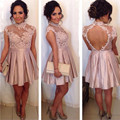 2016 New Summer Sexy Cap Sleeve Mini Short Pink Lace Women Special occasion Cocktail Dresses Party Dress robe de cocktail