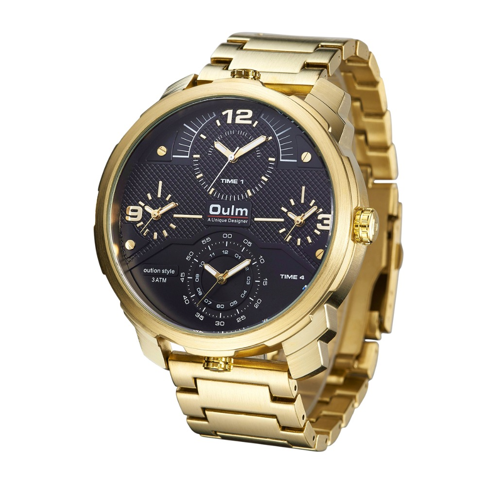Oulm Four Time Zones Men Quartz Watches Casual Gold Metal Steel Band Multiple Time Zone Watch Unique Sports Men's Wristwatch oulm square man writwatch double time zones watch men leather watch good quality
