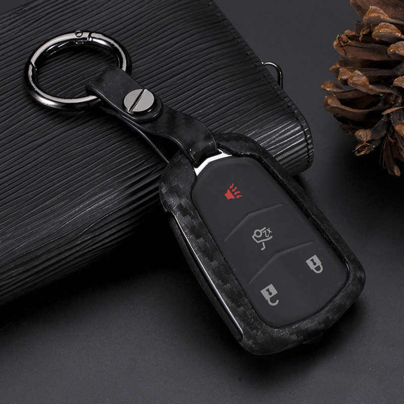 2019 New Carbon Fiber Silica Gel Car Key Case Cover Holder Key Chain Ring For Cadillac xts ats xt4 srx Accessories Car-styling