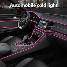 5 м автомобиля светодиодный Холодные огни гибкий неон EL Wire авто лампы на автомобиль холодный свет удлинители линии интерьера полоски