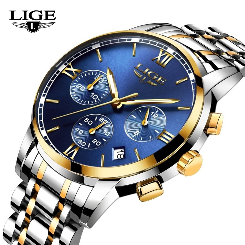 Fashion Casual Watch Luxury brand LIGE Sports Chronograph Watches men Stainless Steel band Quartz-watch Clock man Reloj Hombre migeer fashion man stainless steel analog quartz wrist watch men sports watches reloj de hombre 2017 20 gift